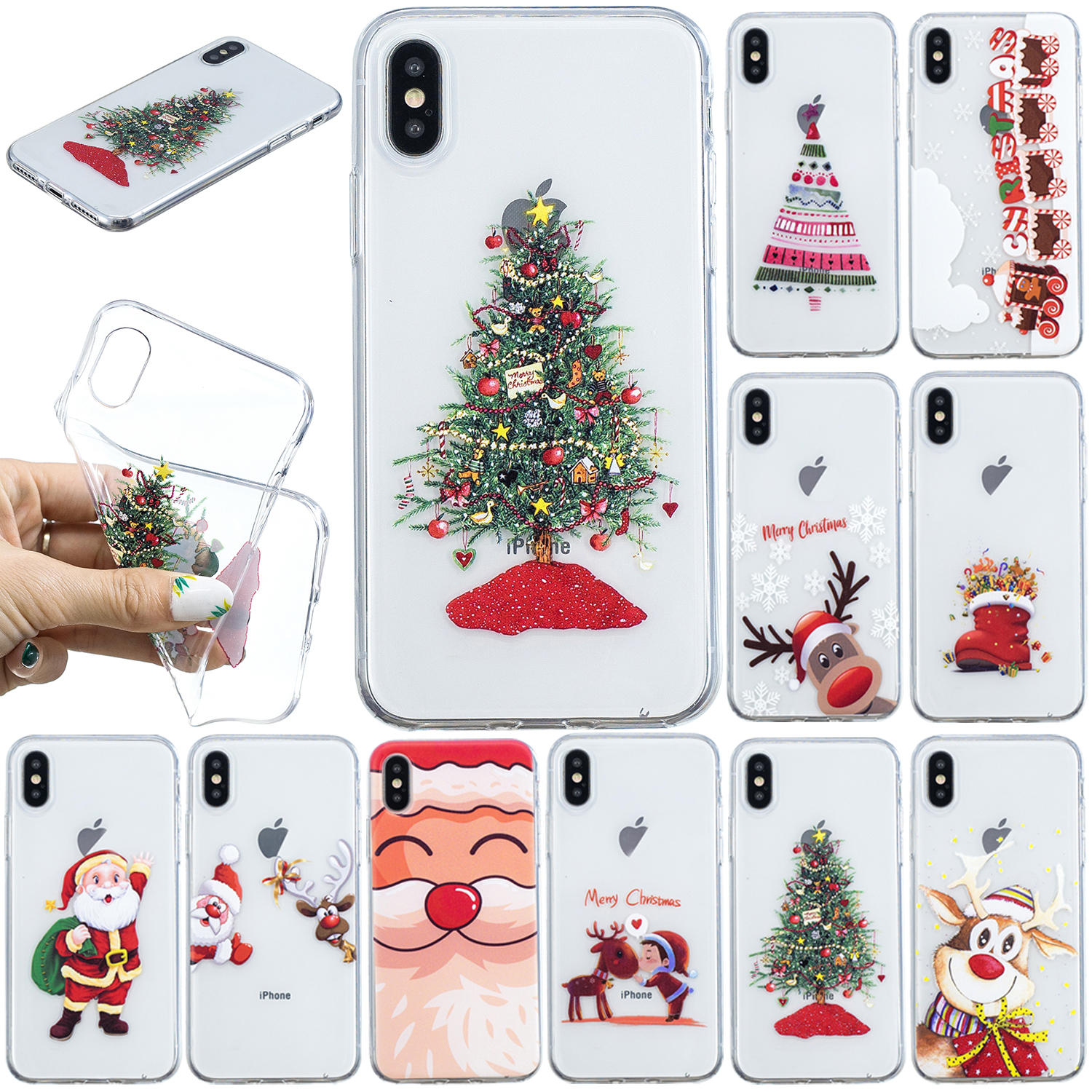 Christmas Iphone X Case.Details About For Iphone X Xs Max Xs 7 8 Plus Christmas Painted Clear Silicone Case Cover