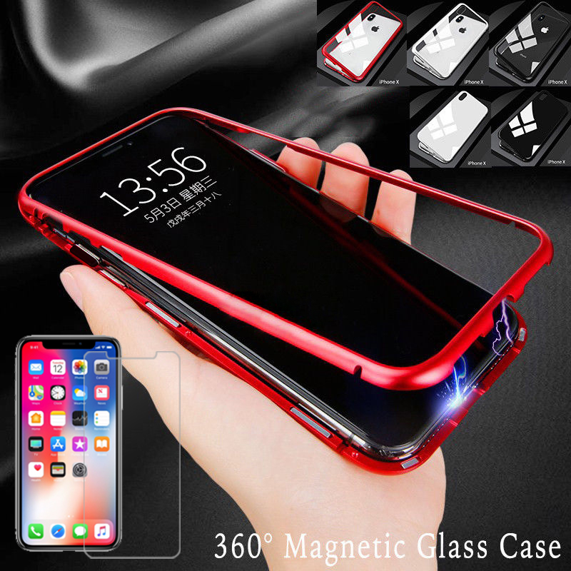 factory price fd33a 04cc6 Details about Magnetic Adsorption Metal Case For iPhone 8 7 XR X XS Max  Tempered Glass Cover